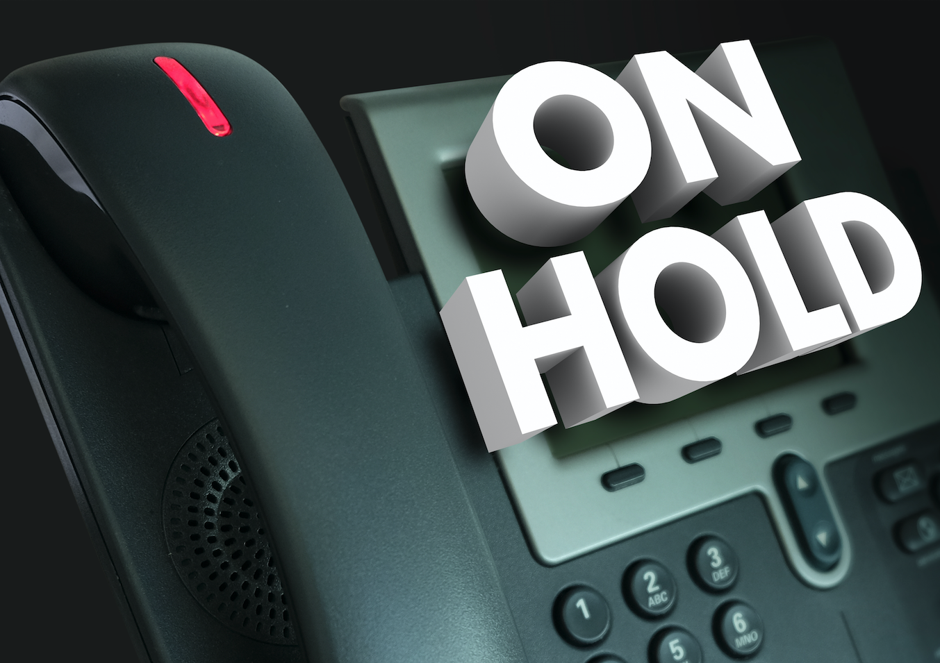 Telephone with On-Hold wording across the top