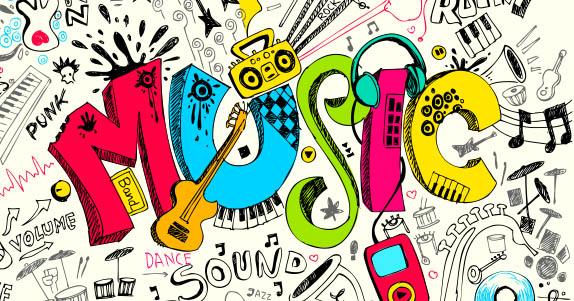 colorful music sketch grafitti